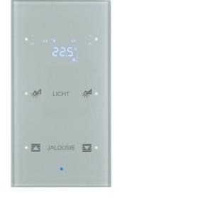 Hager Glassensor 2-voudig met thermostaat  TS Sensor glas aluminium geconfigureerd