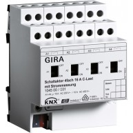 Gira KNX Schakelactor viervoudig 16 A met handbediening en stroommeting voor C-belastingen