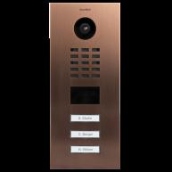 Doorbird Intercom inbouw geborsteld brons- 3 beldrukkers