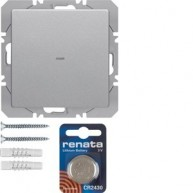 Hager KNX RF vlakkewandmodule 1-voudig batterij Q.1/Q.3 aluminium