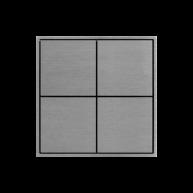 Ekinex KNX 4 voudige taster met vierkante wippen Aluminium