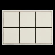 Ekinex KNX 6 voudige taster met vierkante wippen Zuiver wit