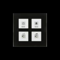 MDT KNX RF Glazen tastsensor 4-voudig Plus inclusief schakelactor RTM zwart