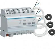 Hager KNX Energieverbruiksmeter 3 kanalen met drie stroomtrafo's EK028