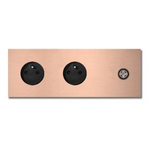 Basalte Socket - Afdekraam drievoudig met CAI - rosé