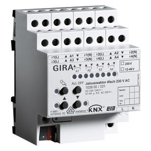 Gira KNX Jaloezieactor viervoudig 230 V AC / 12-48 V DC met handbediening