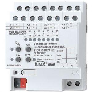 Jung KNX schakelactor 16A 8-voudig / jaloezieactor 4-voudig