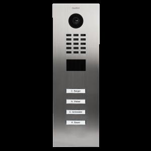 Doorbird Intercom inbouw geborsteld RVS zoutwater bestendig - 4 beldrukkers