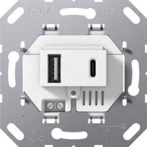 Gira USB voeding 2v type A/C wit 55