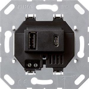 Gira USB voeding 2v type A/C zwart 55