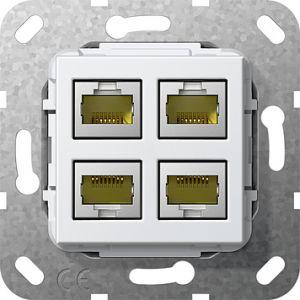 Gira Netwerkaansluitdoos modulair cat.6A 4v zuiver wit glanzend 55