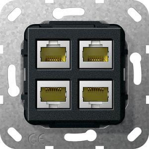Gira Netwerkaansluitdoos modulair cat.6A 4v zwart mat 55