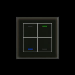MDT KNX Glastaster II Light viervoudig zwart - met temperatuursensor