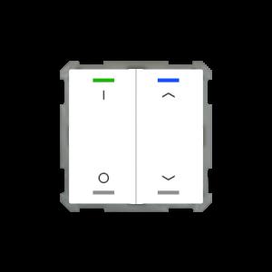 MDT KNX taster light 63 tweevoudig - I/O en pijl met temperatuursensor - zuiver wit glanzend