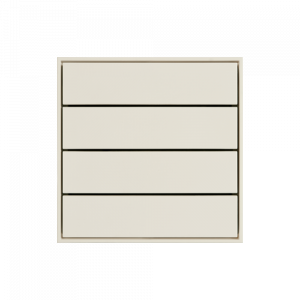 Ekinex KNX 4 voudige taster met langwerpige wippen Zuiver wit