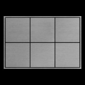 Ekinex KNX 6 voudige taster met vierkante wippen Aluminium