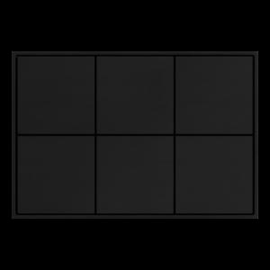 Ekinex KNX 6 voudige taster met vierkante wippen Carbon
