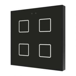 Zennio Flat 4 Capacitieve drukknop 4-voudig zwart
